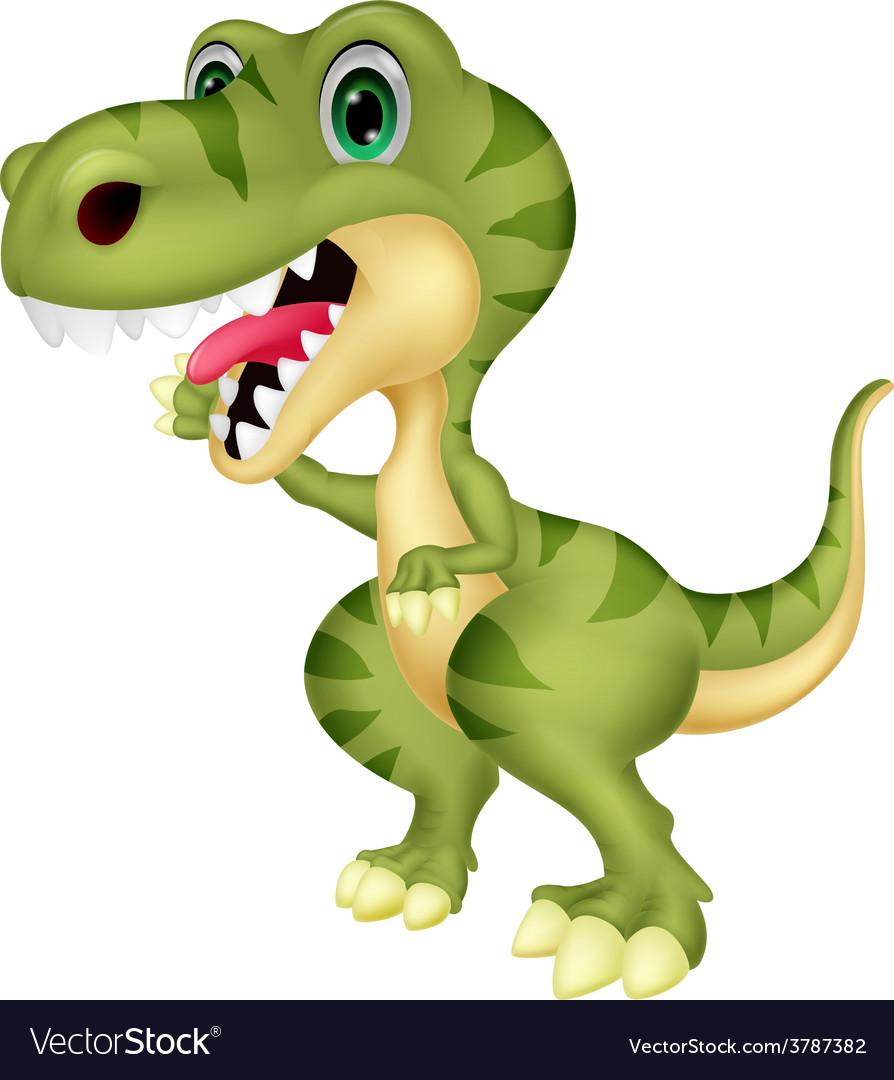 Cute tyrannosaurus cartoon waving hand vector   Price: 1 Credit (USD $1)