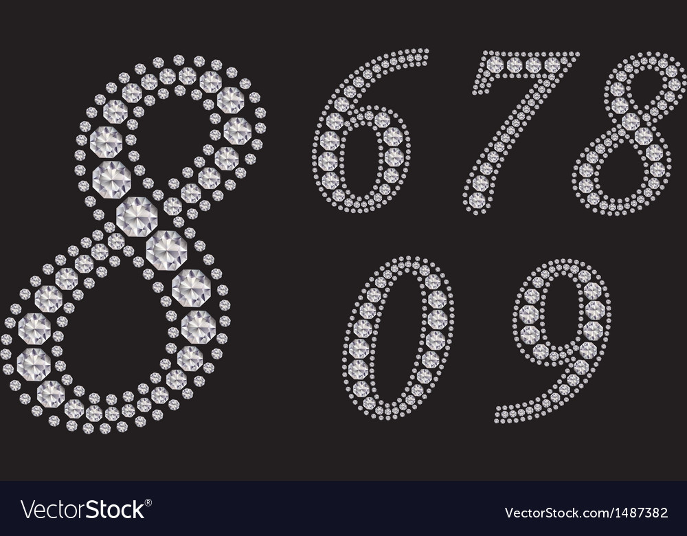 Diamond number set from 1 to 9 vector | Price: 3 Credit (USD $3)