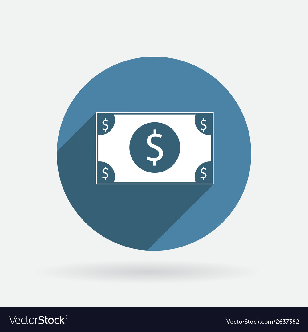 Dollar bill circle blue icon with shadow vector | Price: 1 Credit (USD $1)