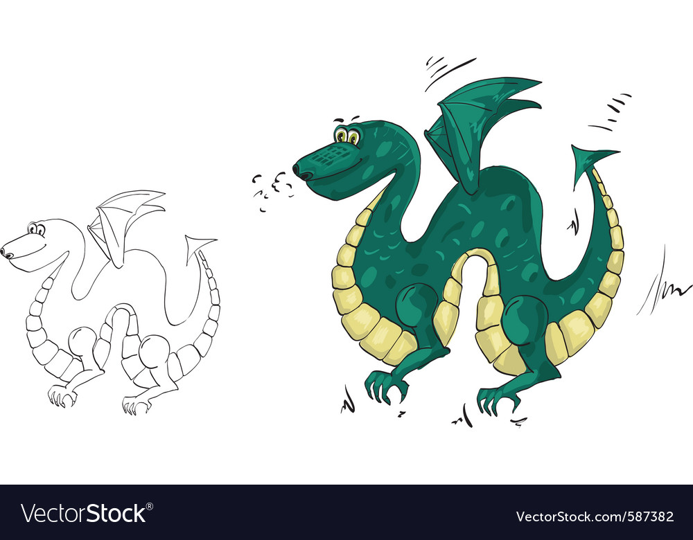 Dragon drawing vector | Price: 1 Credit (USD $1)