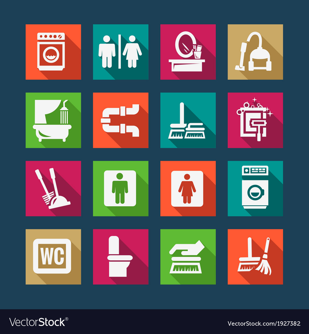 Flat cleaning icons set vector | Price: 1 Credit (USD $1)