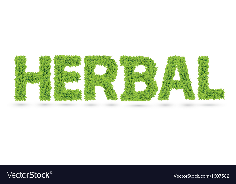 Herbal word made of green leafs vector | Price: 1 Credit (USD $1)