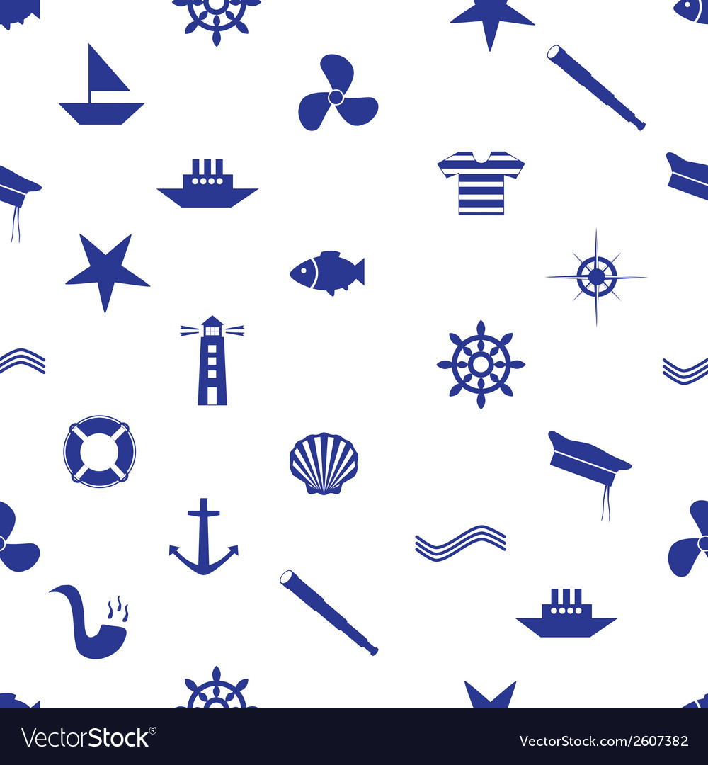Nautical icon seamless pattern eps10 vector | Price: 1 Credit (USD $1)