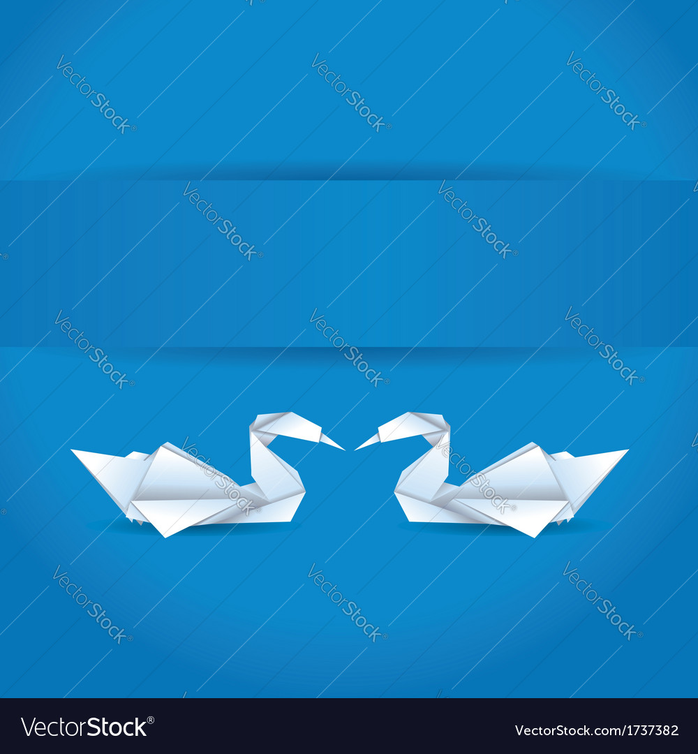 Origami swans on blue background vector | Price: 1 Credit (USD $1)