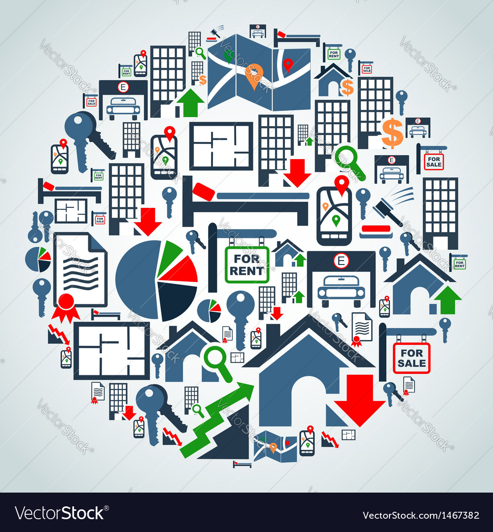 Property services market set vector | Price: 1 Credit (USD $1)