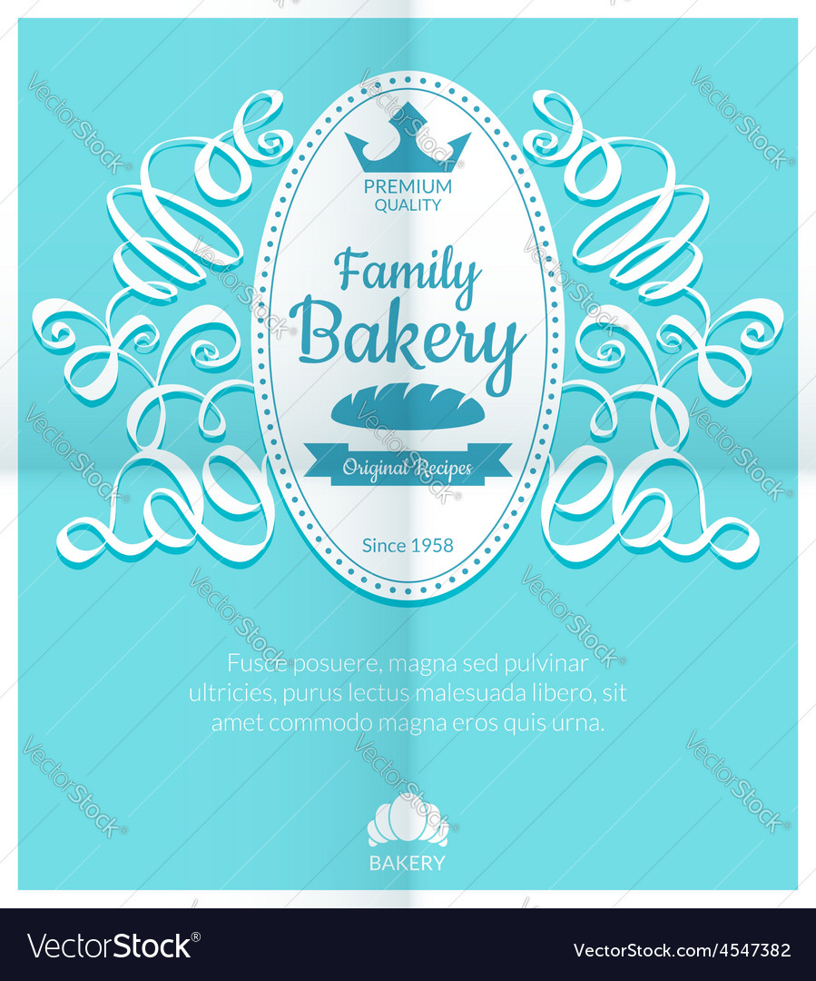 Retro card with bakery logo label vector | Price: 1 Credit (USD $1)