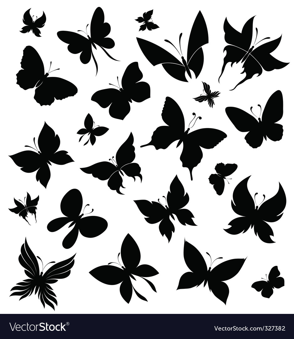 Set of butterflies vector | Price: 1 Credit (USD $1)