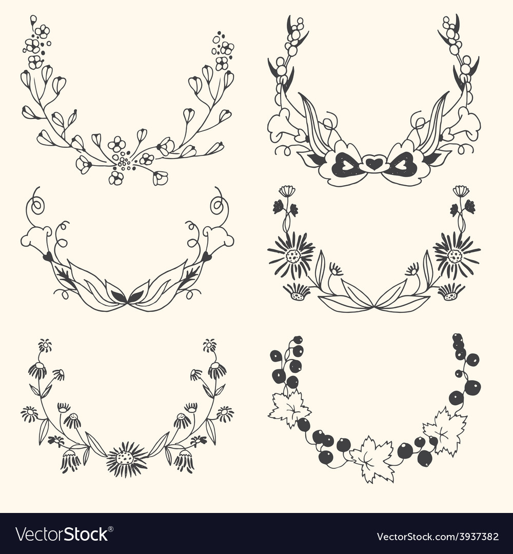 Set of floral hand drawn wreaths vector | Price: 1 Credit (USD $1)