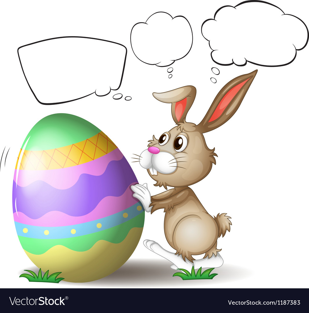 A rabbit pushing a colorful egg vector | Price: 1 Credit (USD $1)