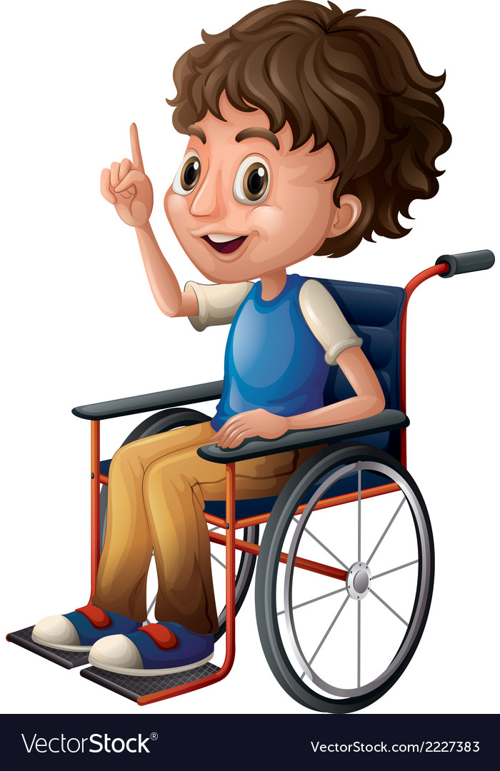 A wheelchair with a boy vector | Price: 1 Credit (USD $1)
