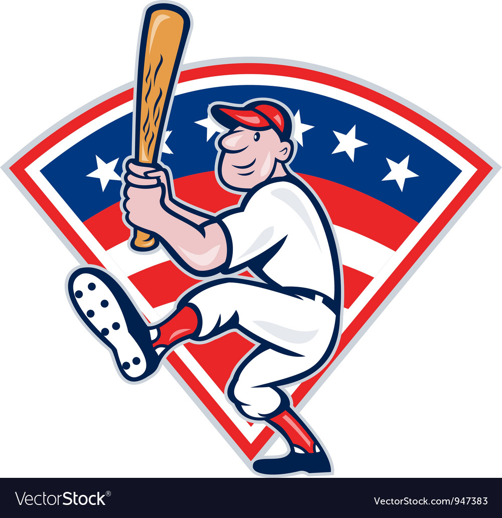 American baseball player batting cartoon vector | Price: 1 Credit (USD $1)
