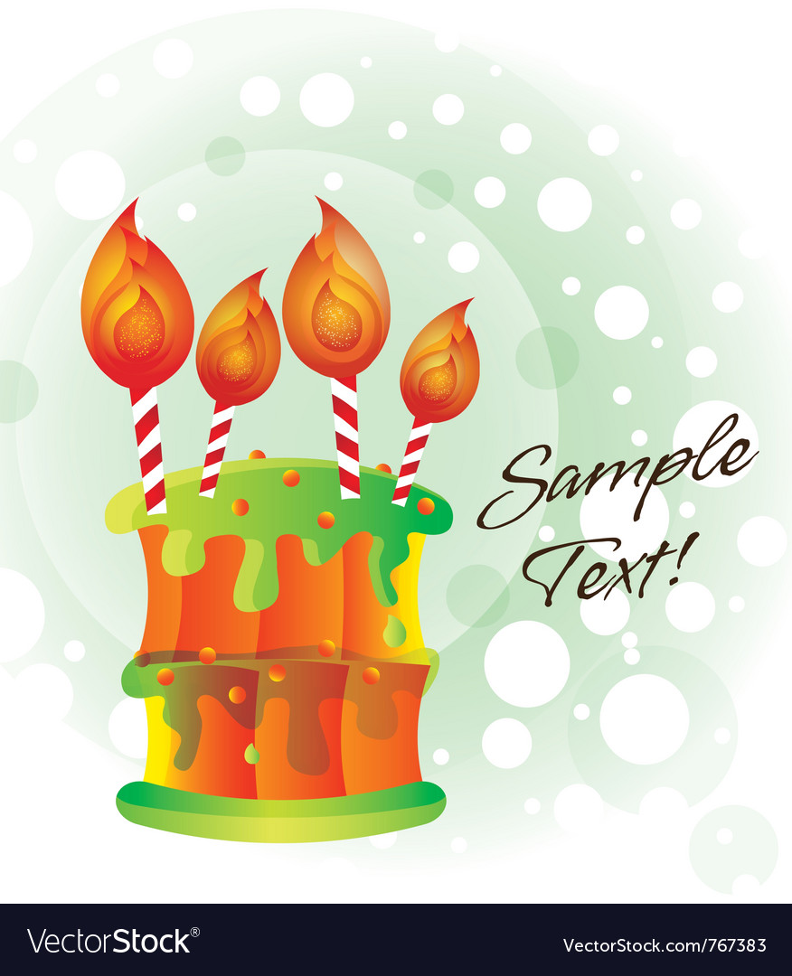 Birthday cake card vector | Price: 1 Credit (USD $1)