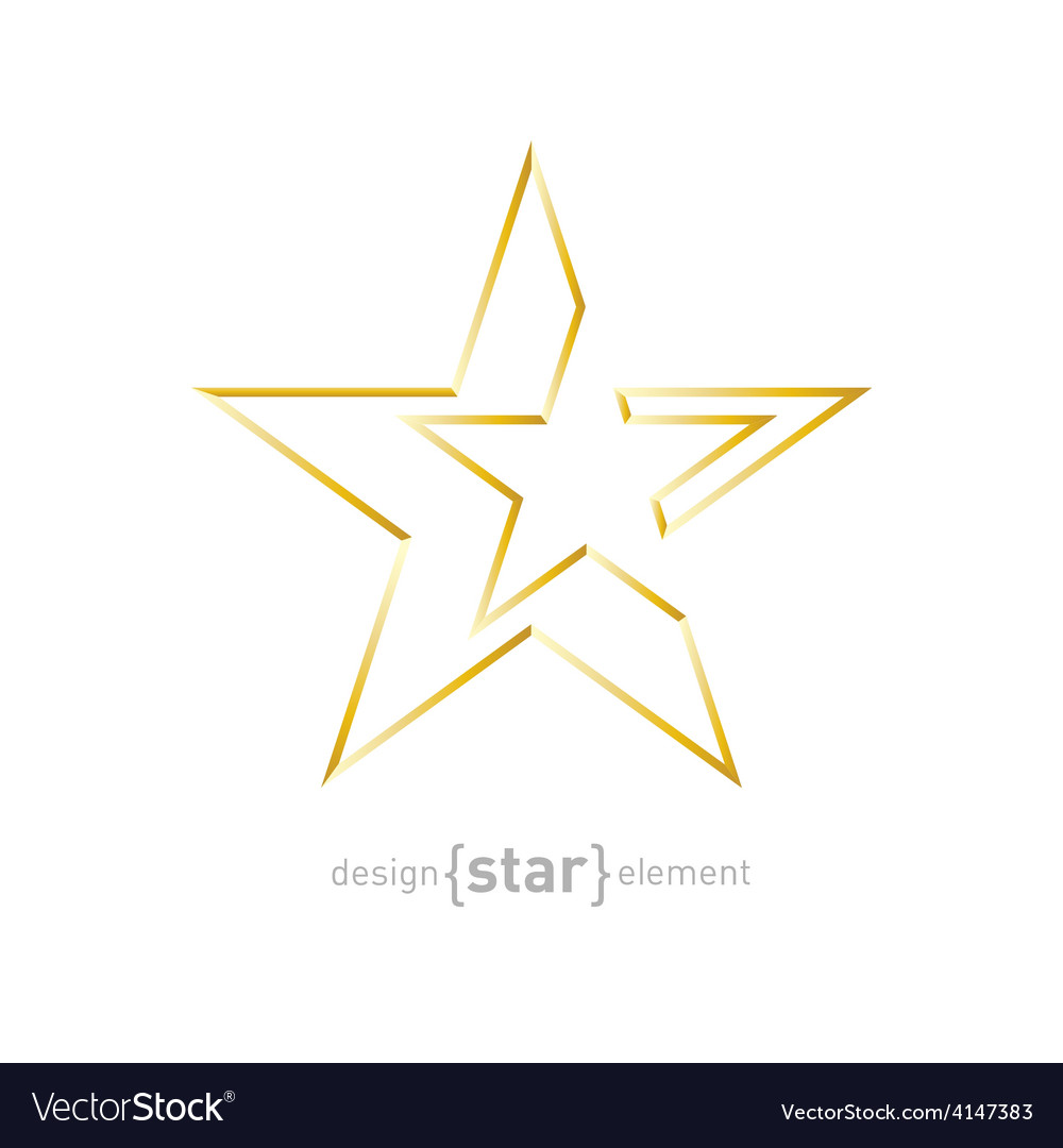 Gold abstract star on white background vector | Price: 1 Credit (USD $1)