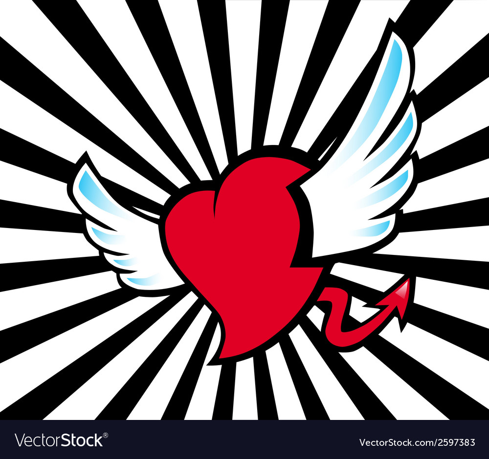 Heart flying vector | Price: 1 Credit (USD $1)