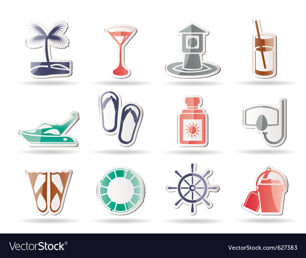 Marine and holiday icons vector | Price: 1 Credit (USD $1)