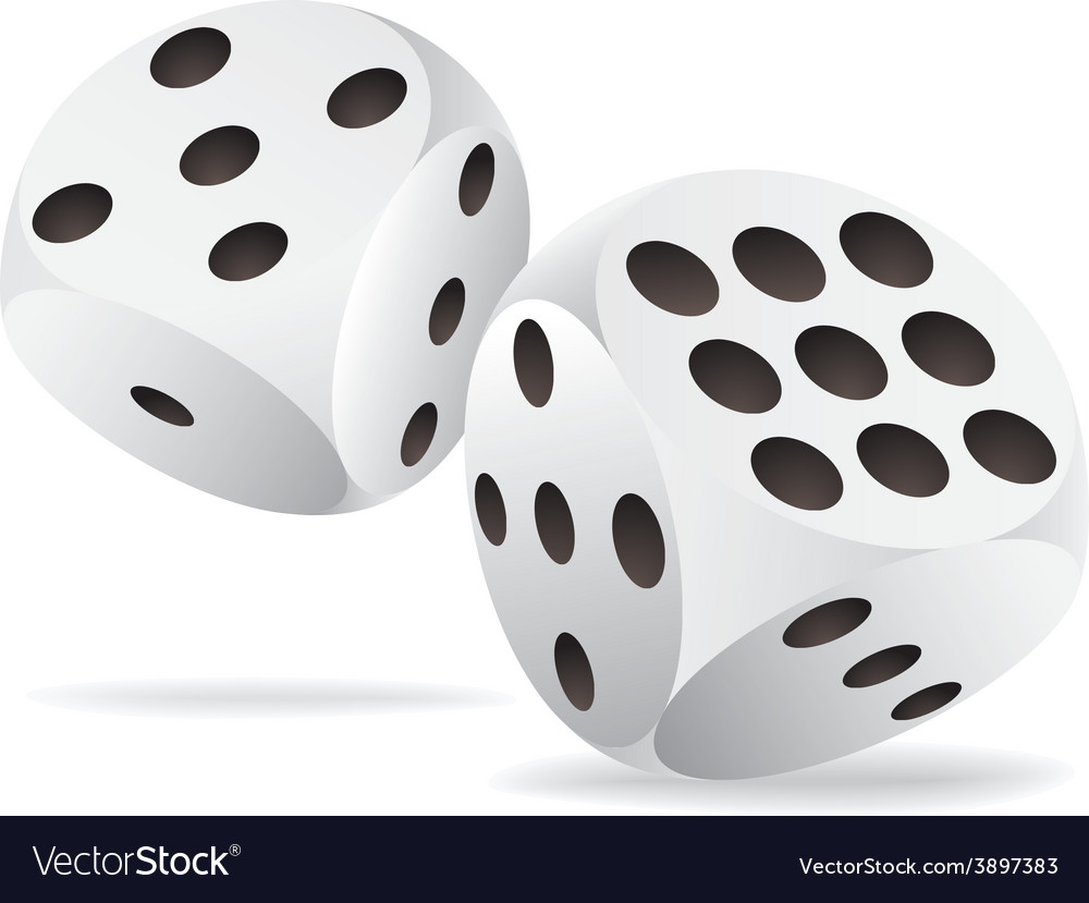 Two white dices in motion vector | Price: 1 Credit (USD $1)