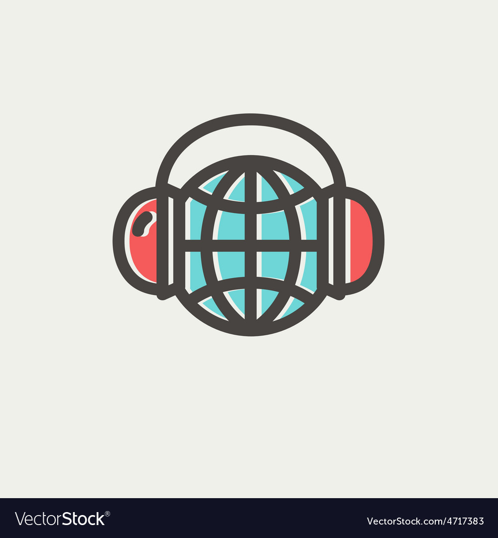 World music thin line icon vector | Price: 1 Credit (USD $1)
