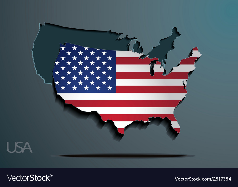 American flag paper map vector   Price: 1 Credit (USD $1)