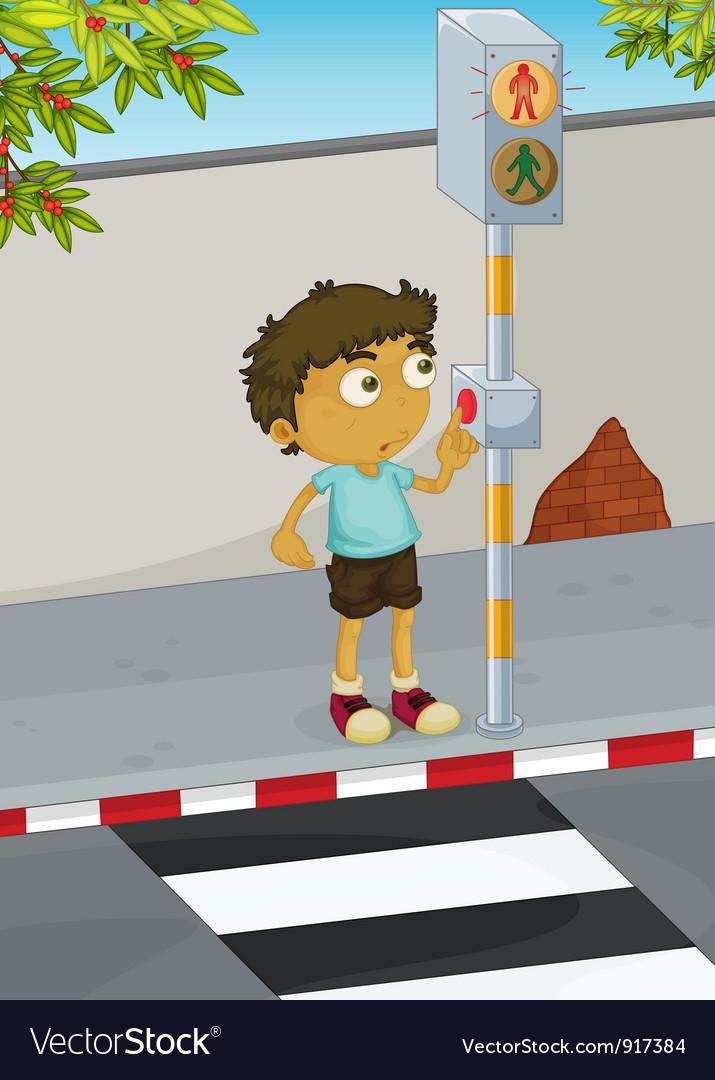 Boy crossing road vector | Price: 3 Credit (USD $3)