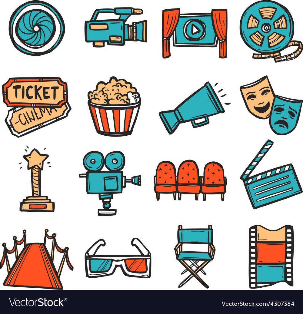 Cinema icons set color vector | Price: 1 Credit (USD $1)
