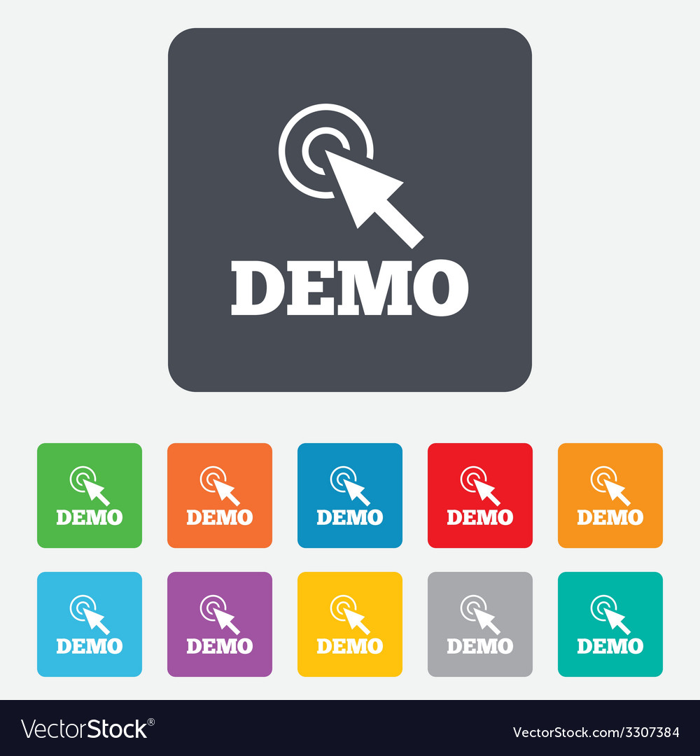 Demo with cursor sign icon demonstration symbol vector | Price: 1 Credit (USD $1)