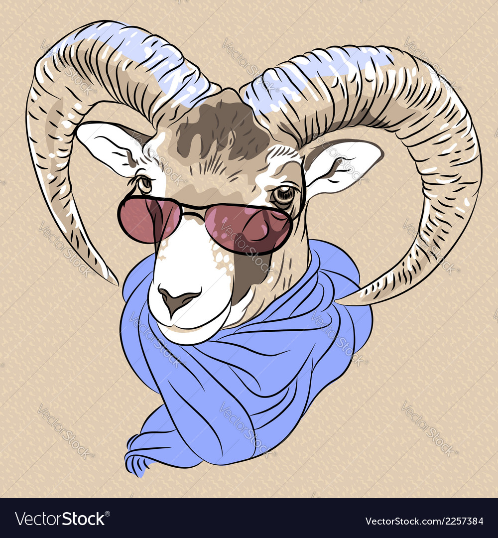 Funny alpine ibex in red eyeglasses and scarf vector | Price: 1 Credit (USD $1)