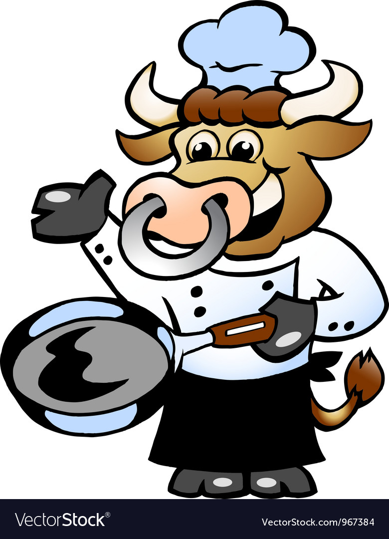 Hand-drawn of an bull chef cook holding a pan vector | Price: 1 Credit (USD $1)