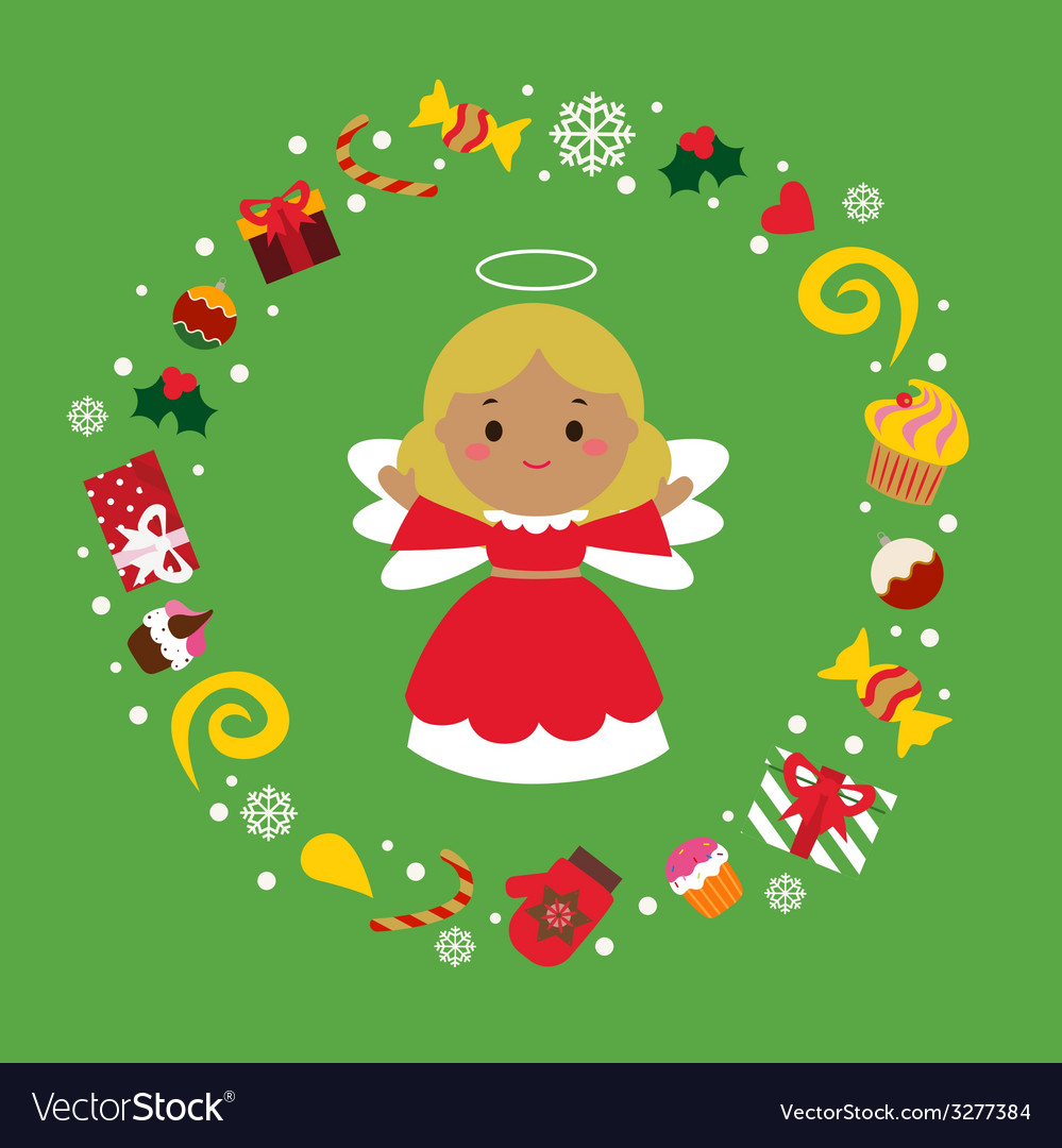 Holiday with cute angel vector | Price: 1 Credit (USD $1)