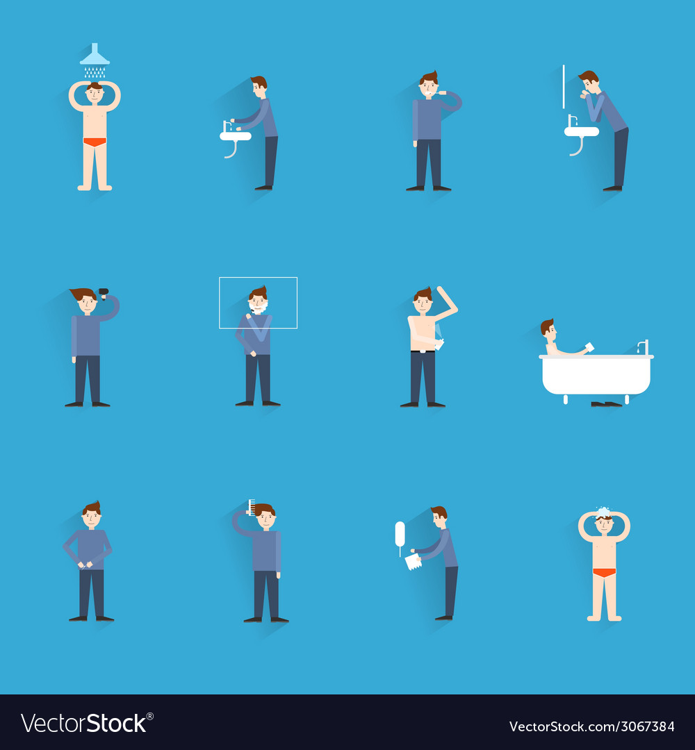 Hygiene icons flat vector   Price: 1 Credit (USD $1)