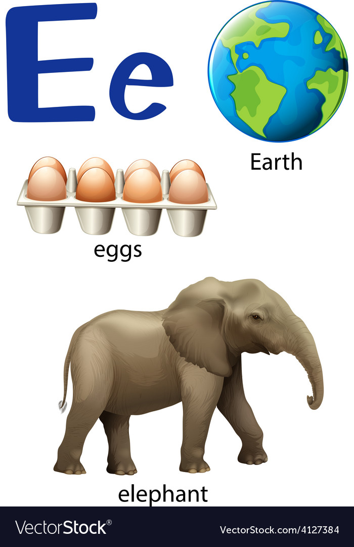 Letter e for earth eggs and elephant vector | Price: 3 Credit (USD $3)