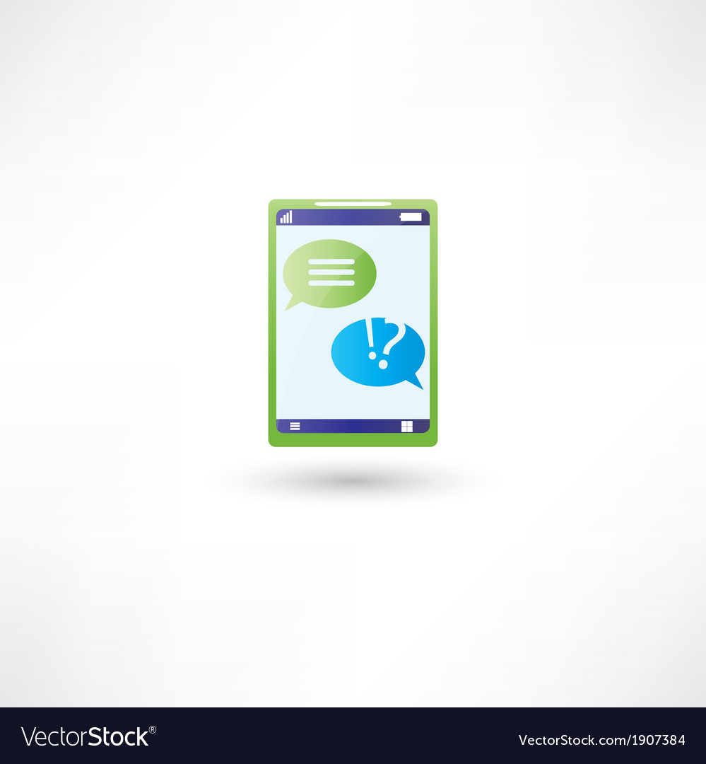Message support on phone vector | Price: 1 Credit (USD $1)