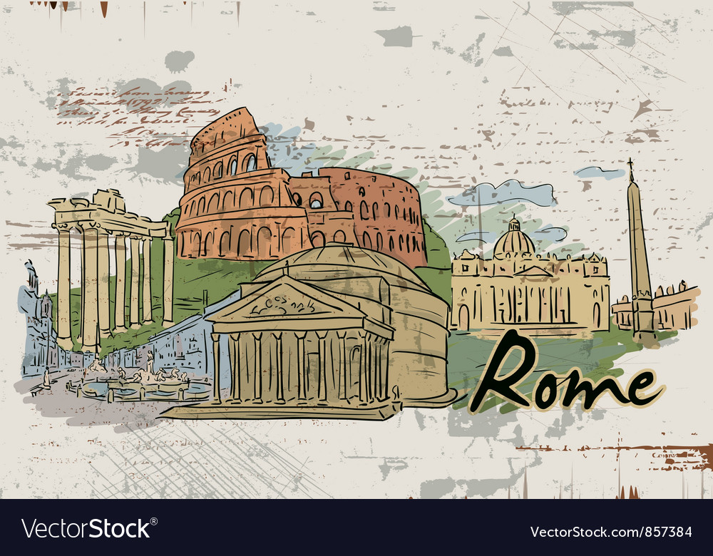 Rome doodles vector | Price: 1 Credit (USD $1)
