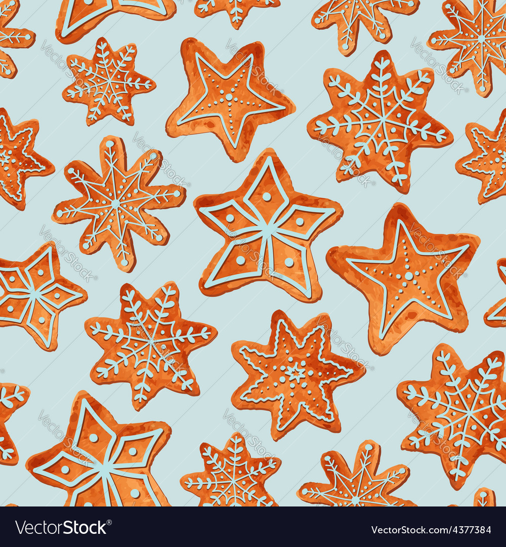Seamless pattern of watercolor gingerbread cookies vector | Price: 1 Credit (USD $1)
