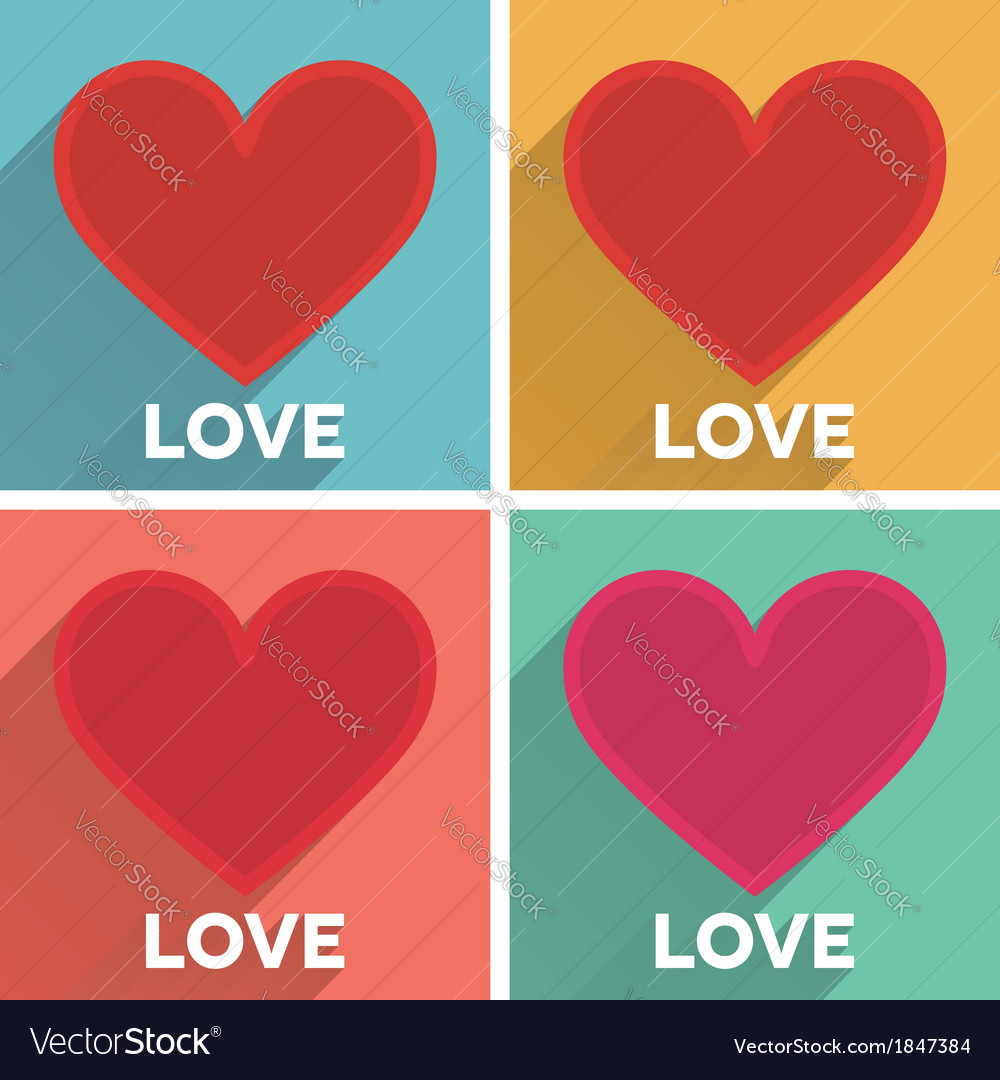 Set of flat typographic valentines day cards with vector   Price: 1 Credit (USD $1)