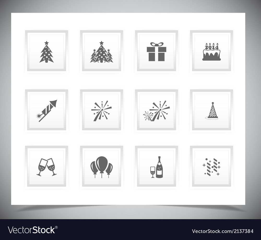 Set of grey new year buttons vector | Price: 1 Credit (USD $1)