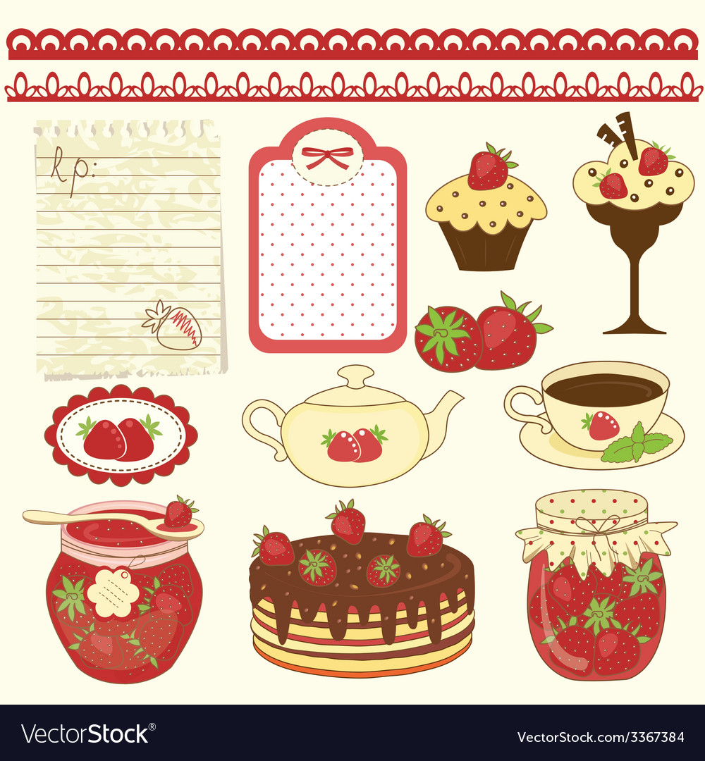 Set of strawberry design elements vector | Price: 1 Credit (USD $1)