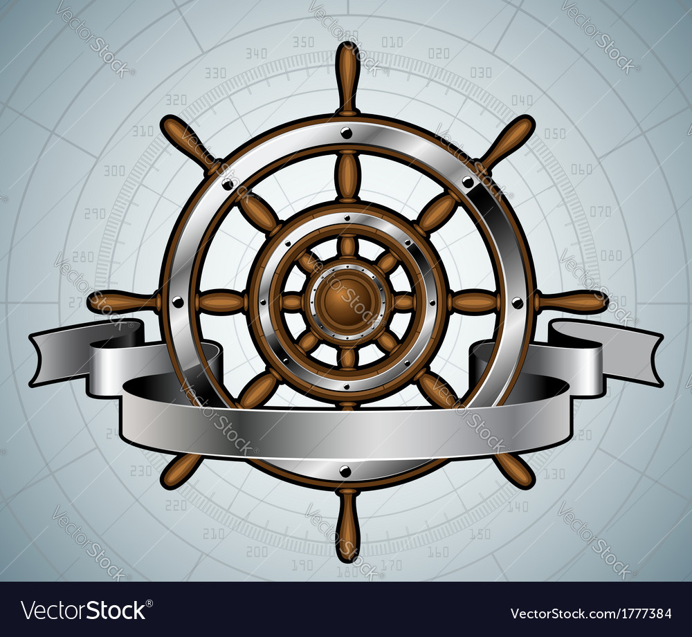Ship steering wheel with banner vector | Price: 1 Credit (USD $1)