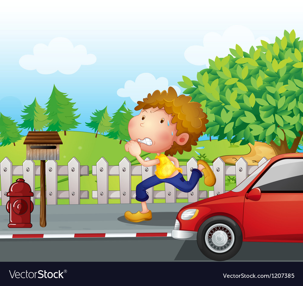 A boy running at the street with a mailbox vector | Price: 1 Credit (USD $1)