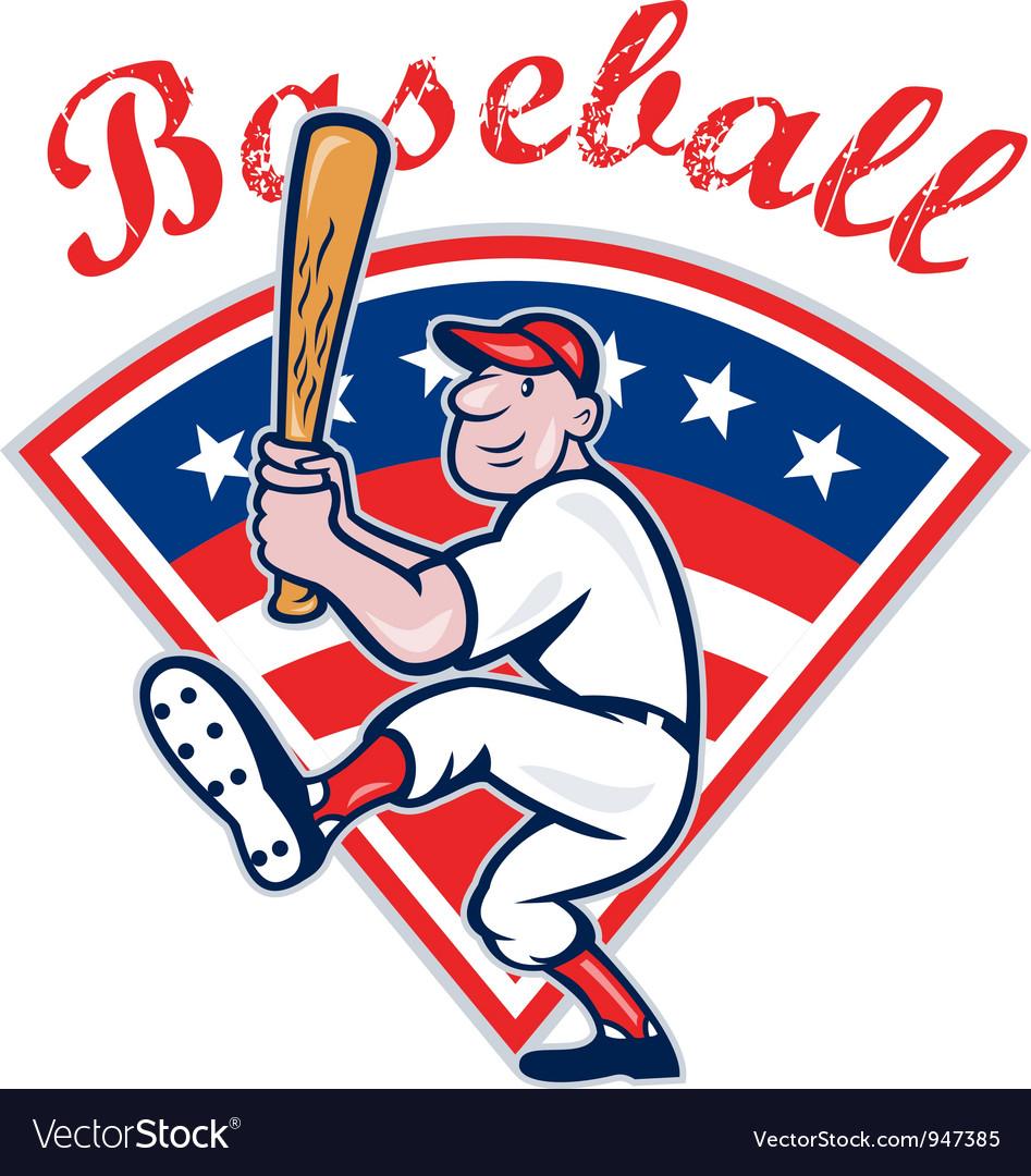 American baseball player batting cartoon vector   Price: 1 Credit (USD $1)