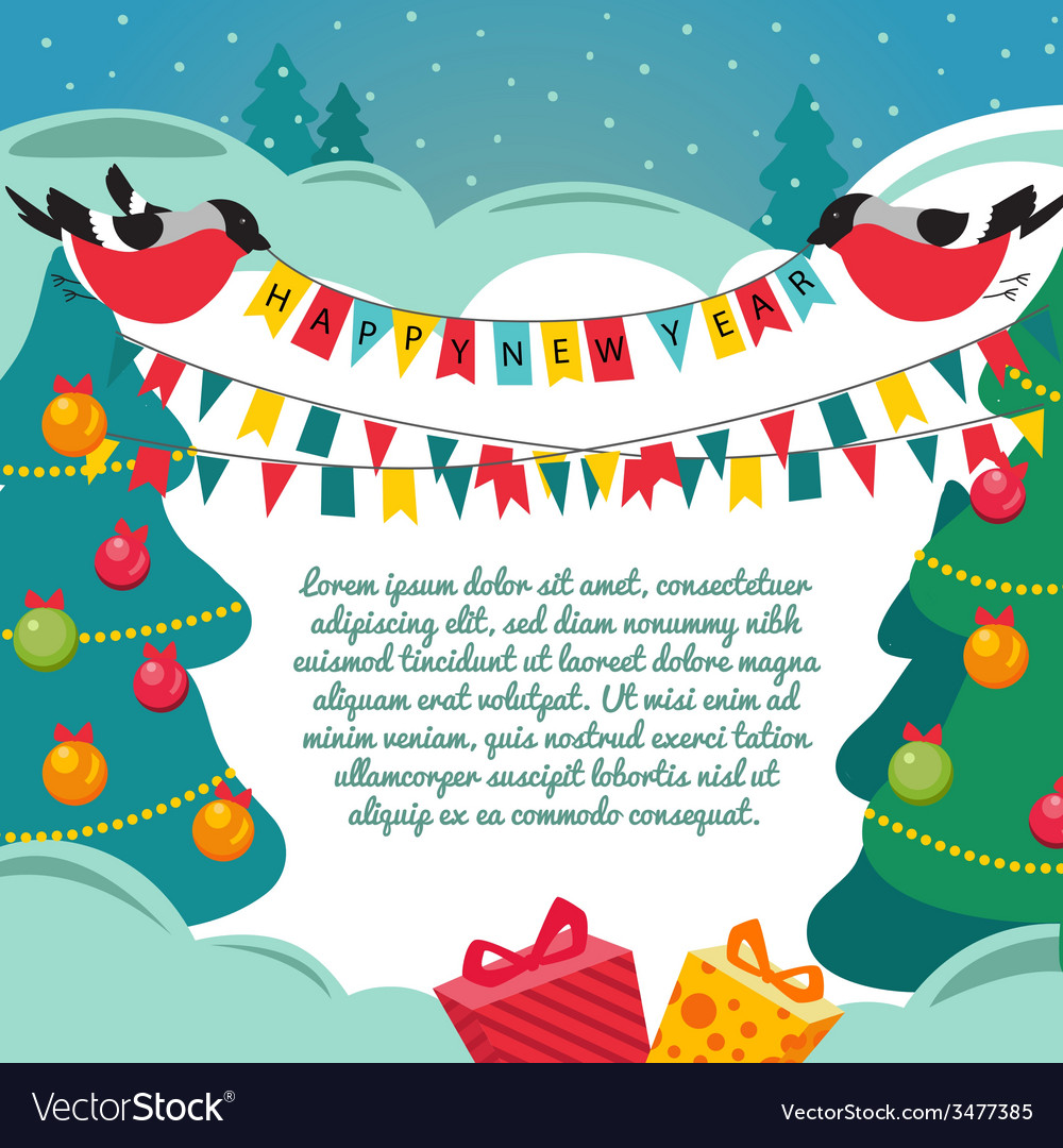 Christmas card with a birds vector | Price: 1 Credit (USD $1)