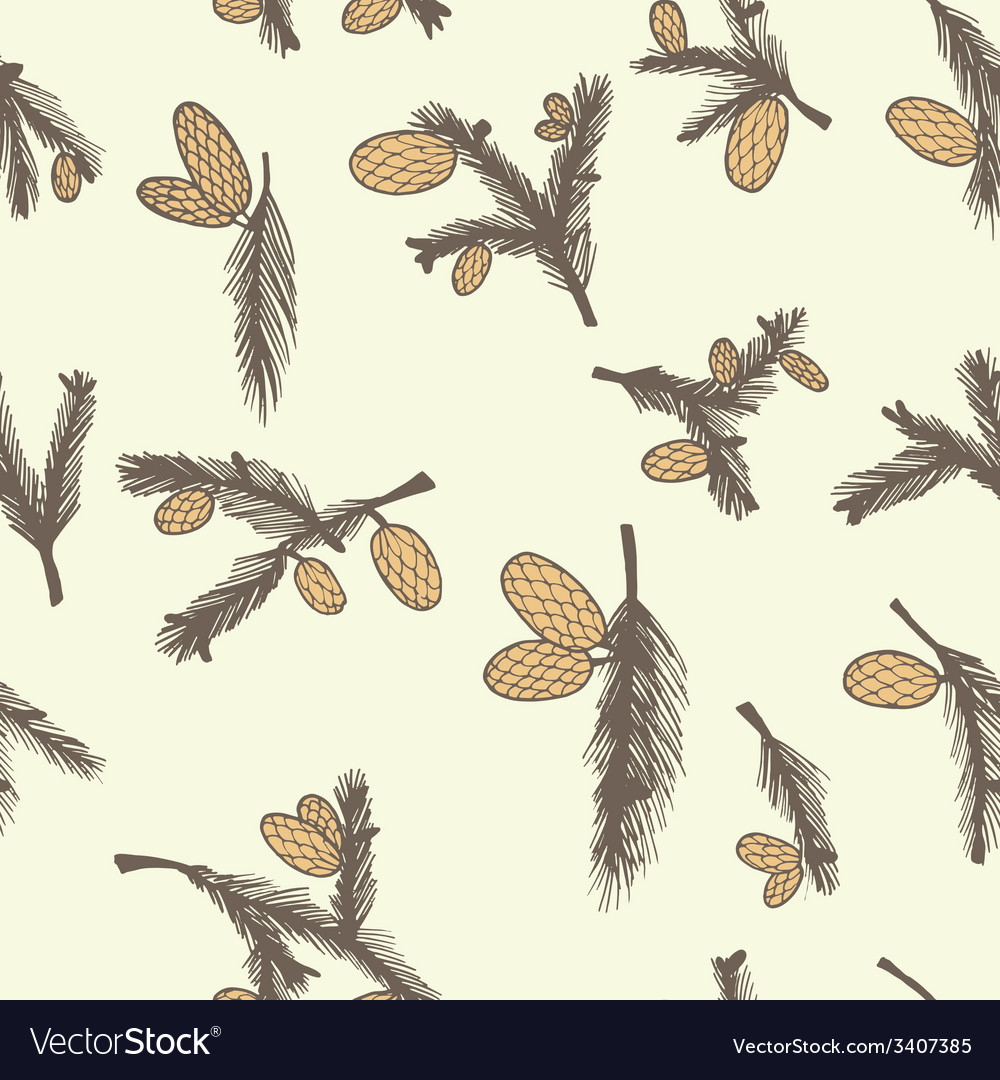 Fir pine cone seamless pattern vector | Price: 1 Credit (USD $1)
