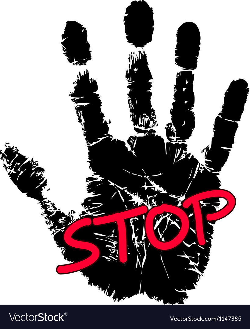 Hand print with stop sign vector | Price: 1 Credit (USD $1)