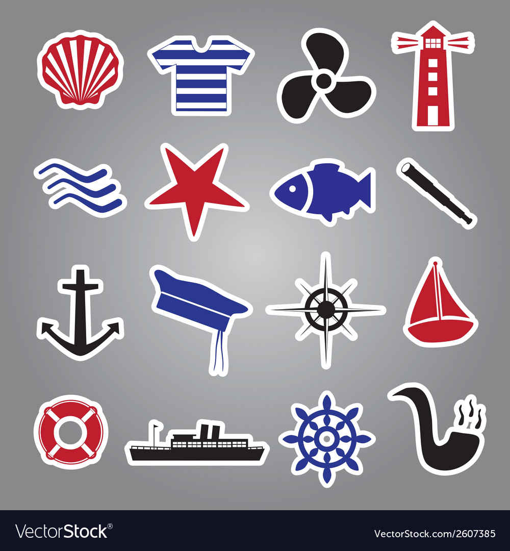 Nautical icon stickers collection eps10 vector | Price: 1 Credit (USD $1)