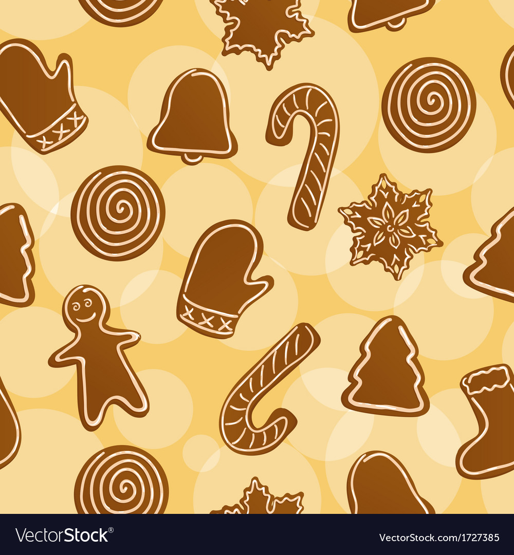 Seamless christmas gingerbread background vector | Price: 1 Credit (USD $1)