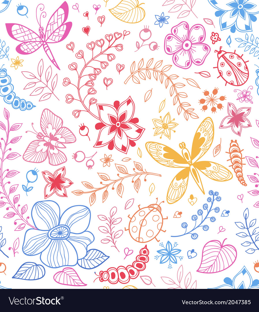 Seamless texture with flowers and butterflies vector | Price: 1 Credit (USD $1)