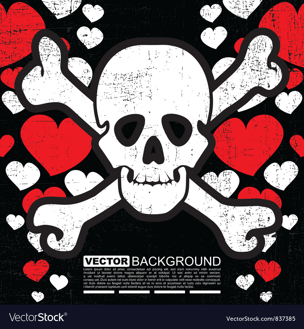 Skulls with hearts vector | Price: 1 Credit (USD $1)