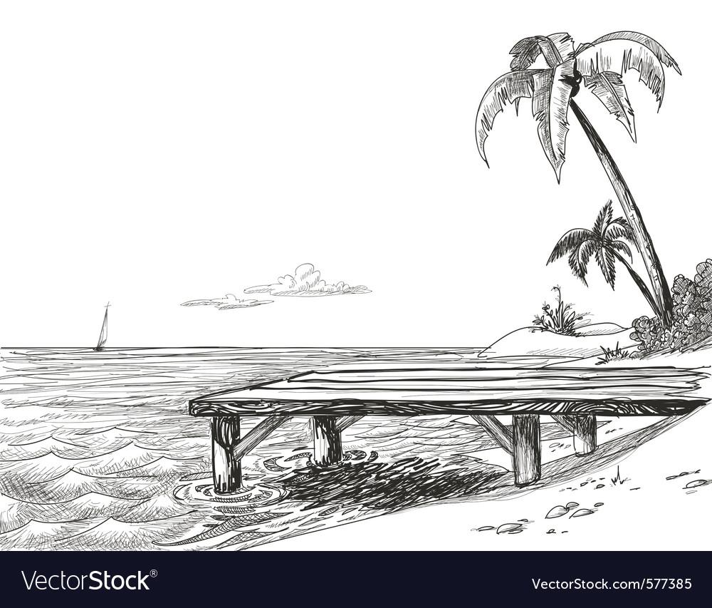 Tropical beach sketch vector   Price: 1 Credit (USD $1)