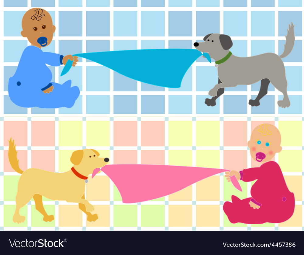 Cartoon baby with dog pulling blanket vector | Price: 1 Credit (USD $1)