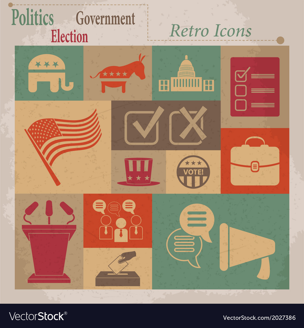 Election retro flat icons vector | Price: 1 Credit (USD $1)