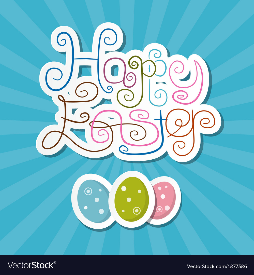 Happy easter paper retro blue background vector | Price: 1 Credit (USD $1)